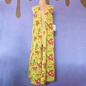 NEW LuLaRoe Joy Mustard Floral Duster Size Medium